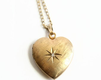 Necklaces & Pendants In Original Box Decorative Arts Vintage Gold Filled Heart Locket With Tiny Diamond