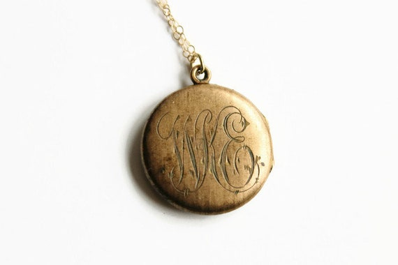 Antique Victorian Locket Necklace, Engraved WKE, G