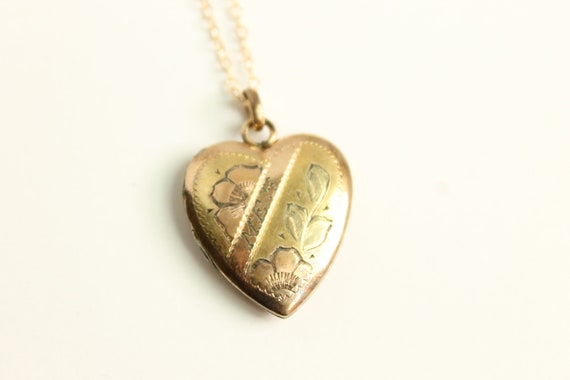 Antique Gold Heart Locket Necklace - Engraved MES