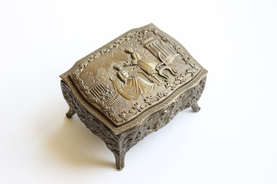 Vintage Metal Jewelry Box, Red Interior, Victorian