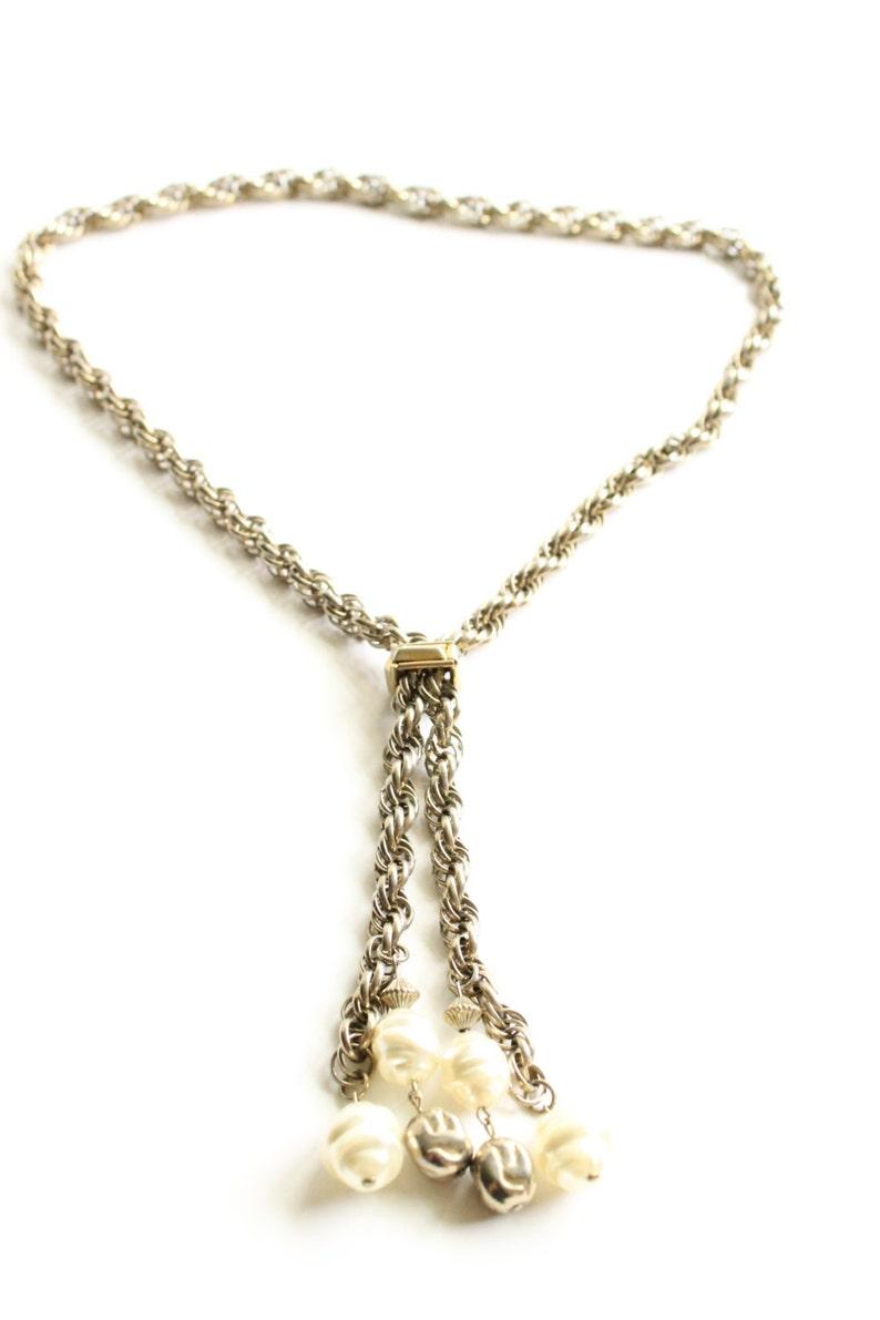 Circa 1960/'s Bolo Slide Necklace Retro Jewelry Vintage Tassel Lariat Necklace