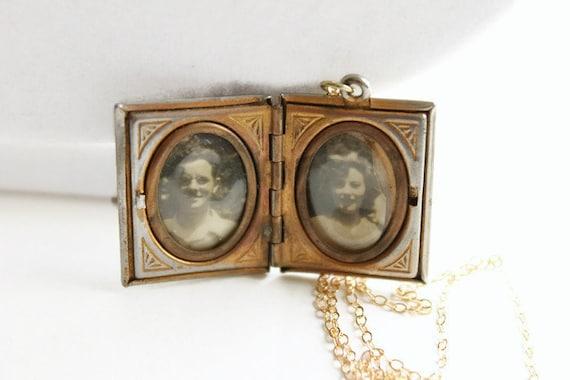 Vintage Black Cameo Locket Necklace, Book Locket,