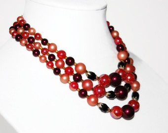 Vintage 1960's Pink Beaded Necklace, Costume Jewelry, Three Strand Necklace