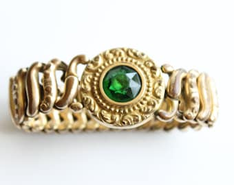 Antique Emerald Glass Expansion Bracelet - Sweetheart Bracelet - Pittman Keeler - American Queen Dated 1907