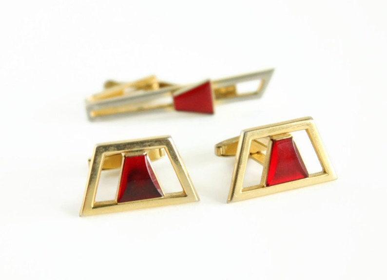Mid Century Gold Cuff Link Tie Clip Set Red Glass Stone Circa 1950/'s Designer Foster