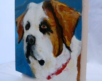 """Oliver Saint Bernard - Custom for Betsy  8""""X8""""  oil painting"""