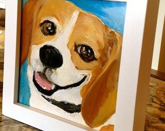 6X6x1 Custom Beagle Portrait for Josh and Amy