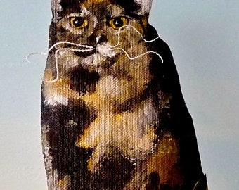 """Custom Pet Portrait on esty  Example: Billy Jean the cat  3""""X6"""" Cute canvas cut out on etsy"""
