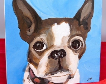 """4""""x4"""" Custom hand painted pet portrait of Toby the Brindle Boston Terrier"""