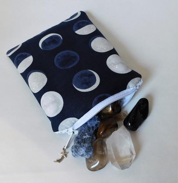 Cristal Zip sac Moon Phases blanc & bleu - pochette de rangement - porte - monnaie