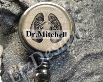 Vitruvian Man Retractable Badge Reel Custom ID Badge Holder Leonardo Da Vinci