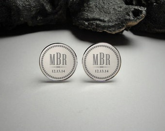 Personalized Wedding Cuff Links, Initials and Date Cuff Links, Wedding Cuff Links, Wedding Party Gifts Gift for Dad Men Gift