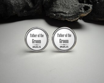 Father of the Groom Cuff Links, Wedding Party Cuff Links Wedding Cuff Links Wedding Party Gifts Gift for Dad Men Gift