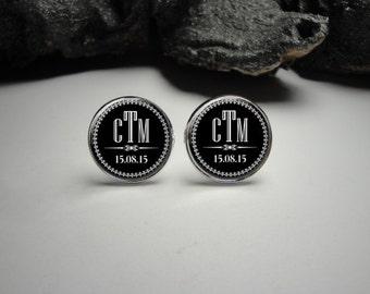 Personalized Wedding Cuff Links 20mm Groom Silver Cufflinks for Him/Men Gift Personlized /Wedding Cuff Links