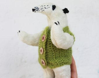 Cloth doll anteater - stuffed animal - plushie - artist teddy anteater  - tamandua plush - softie  - stuffed toy - collectible toys -unusual