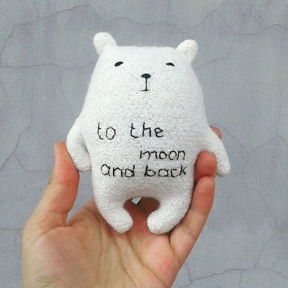 To The Moon And Back Bear Stuffed Toy With Embroidery Etsy