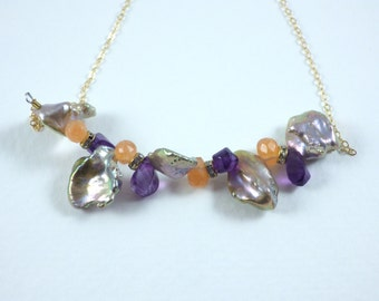 Pearl, Amethyst and Carnelian Bar Necklace by KarenWhalenDesigns