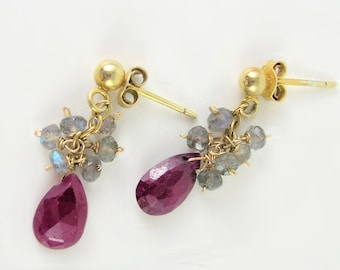 Ruby and Labradorite Cluster Earrings by KarenWhalenDesigns