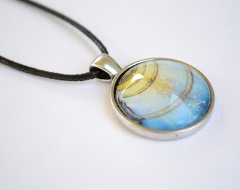 One Inch Round Glass Pendant Necklace - Original Photography - Red - Yellow - Blue - Green - Abstract