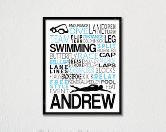 b117518d851 Boy's Swimming Typography Art, Personalized Swimmer Poster, Swimmer Poster,  Gift for Swimmer, Swim Team Gift, Swimmer Wall Art, Swim Print