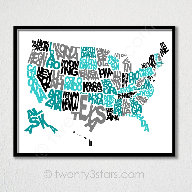 United States Typography Map Poster, Written US States, Playroom Nursery  Art Unique USA Map Typography Art, United States in Words Art Print