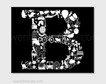 Letter Nursery Poster Print, Letter B Initial Monogram, B Nursery Wall Art Print, Baby Shower or Wedding Gift, Letter B Art, Letter B Canvas