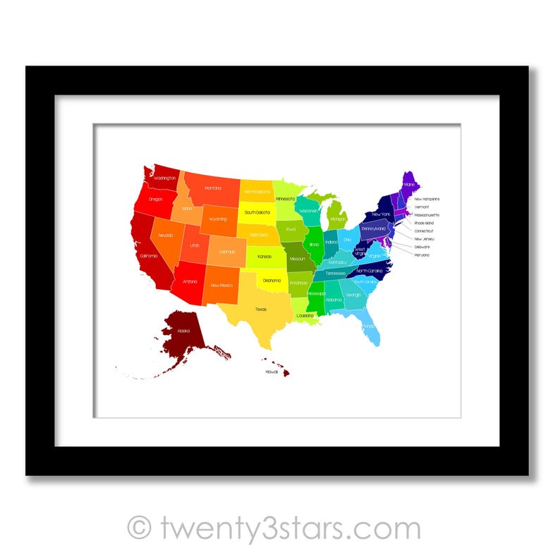 Custom United States Map Poster Print Rainbow Art With Etsy - Us-map-poster