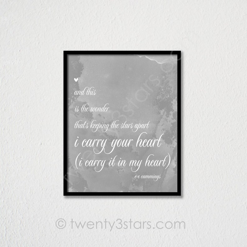 I Carry Your Heart Art Ee Cummings Poem Quote Poster I Etsy