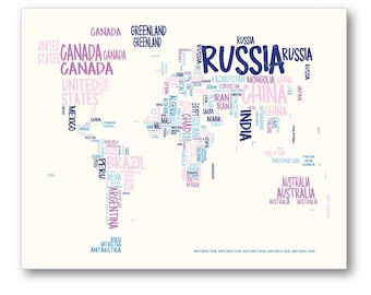 world map typography map poster typographic atlas art with country names world map in