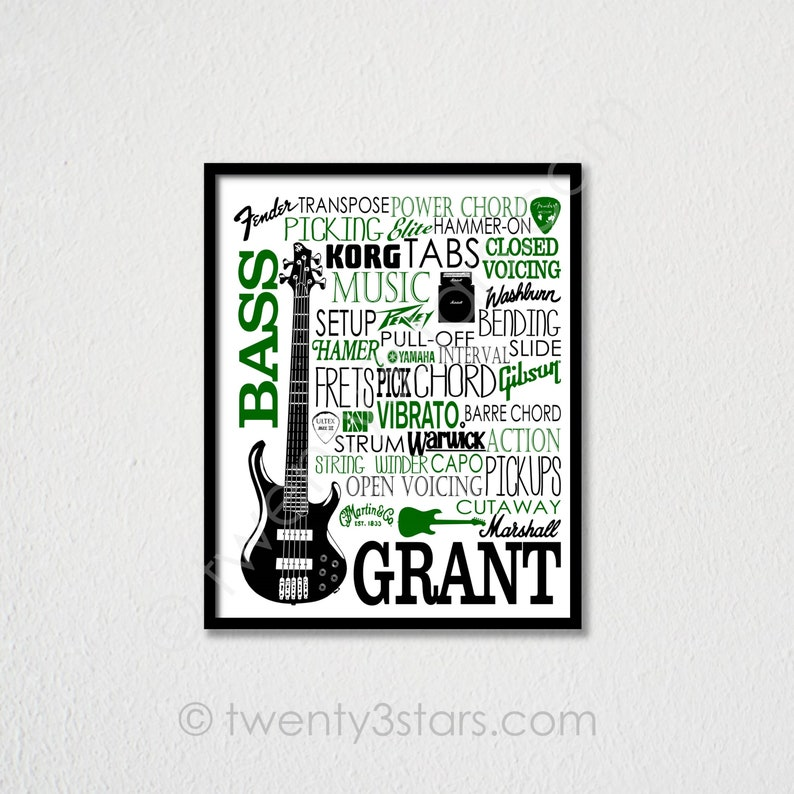 Bass Guitar Typography, Gift for Bass Guitar Player, Bass Guitar Player  Gift, Guitar Gift, Guitar Player Gift, Bass Player Gift, Bassist Art