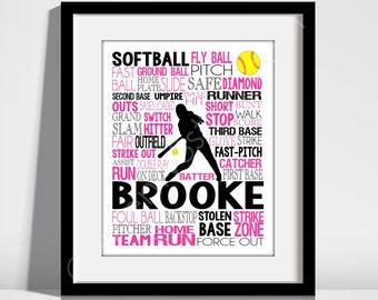 Gift for Softball Player, Personalized Softball Poster Typography, Softball Gift Ideas, Softball Wall Art, Softball Team Gift