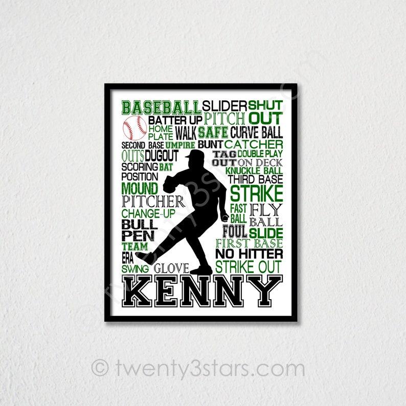 Baseball Pitcher Typography Poster, Boy's Baseball Room Art, Baseball Coach  Art, Baseball Team Gift, Pitcher Wall Art, Baseball Pitcher Gift