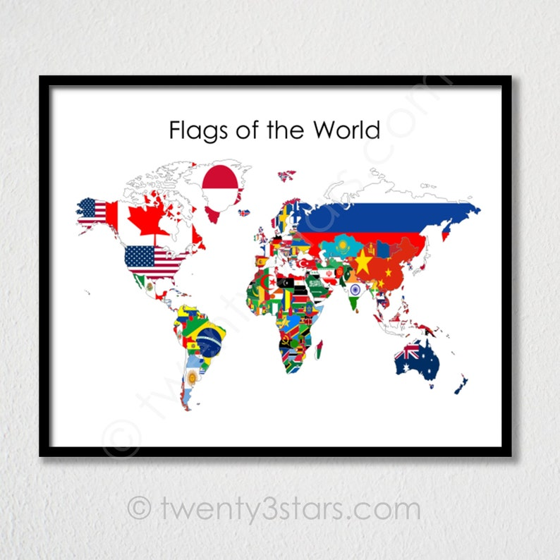 Flags Of The World Map Poster World Map Flags Flag Map Art Etsy