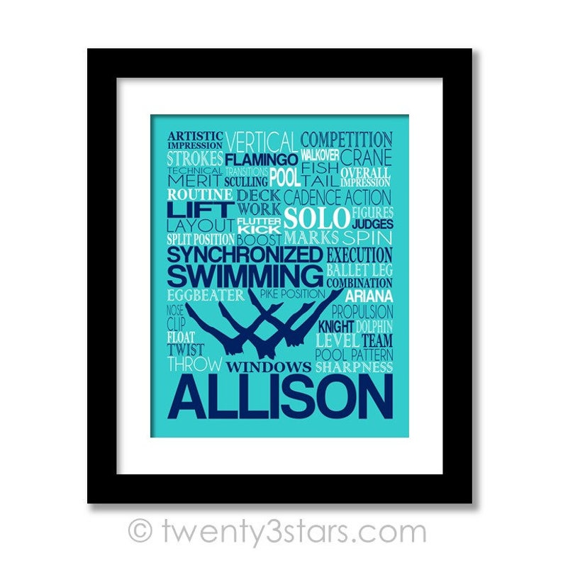 Synchronized Swimming Typography Poster, Gift for Synchro swimmer, Swim  Team Gift, Swim Coach Gift, Synchronized Swim Poster, Synchro Gift