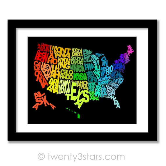 United States Typography Map Poster, Written US States, Playroom Nursery  Art Unique USA Map Typography Art