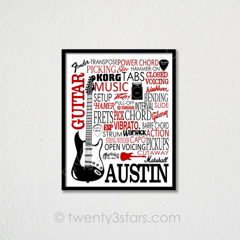 Guitar Poster Typography, Guitar Player Gift, Guitar Art, Guitar Gift,  Custom Guitar Art, Gift for Guitar Player, Personalized Guitar Poster