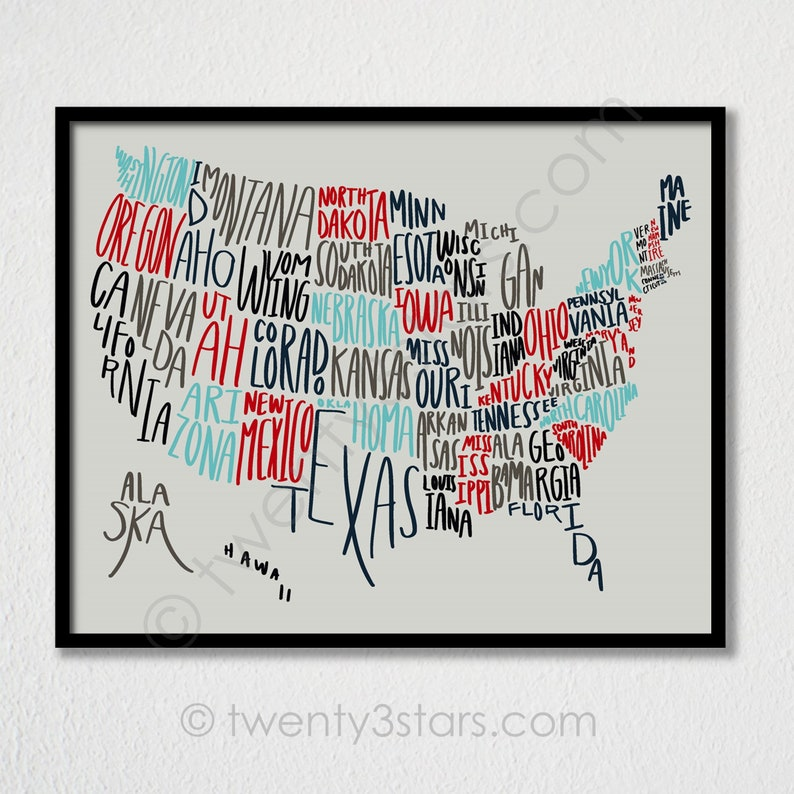 United States Typography Map Poster, Handwritten US States Art, USA Map  Art, USA Typography Art, United States Map Gift, America Map Poster