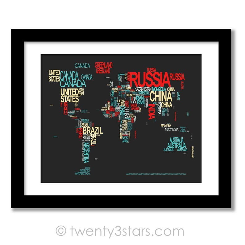 World Map Typography Poster Print Typographic Atlas Art with   Etsy