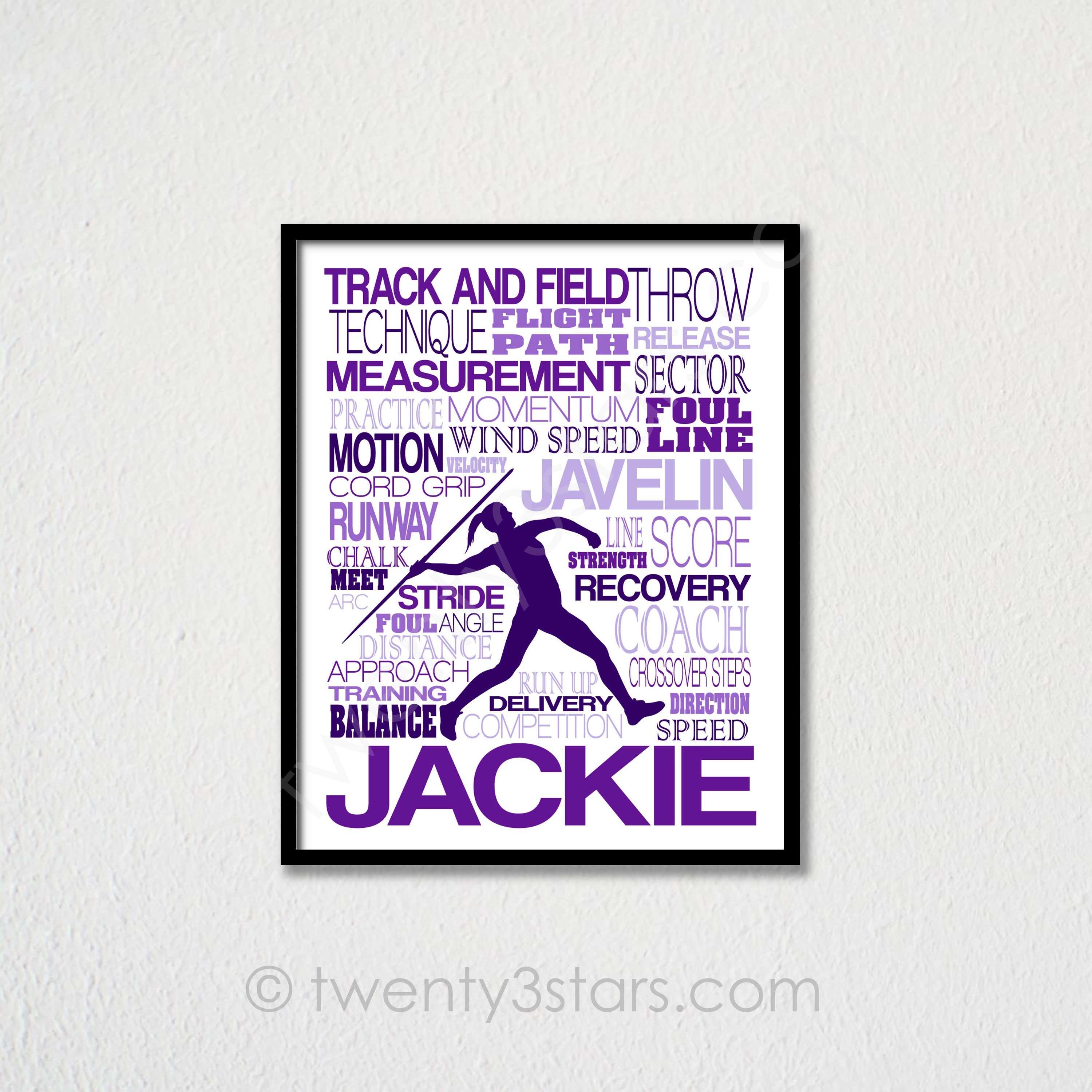 Girl's Javelin Throwing Typography Poster, Track and Field Art, Track Team  Gifts, Womens Javelin Typography Art, Javelin Poster, Javelin Art