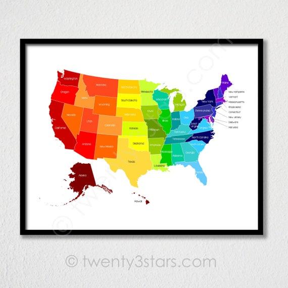 Custom United States Map Poster Print, Rainbow Art with Labeled US States,  Playroom Nursery America Art, Custom US Map, United States Map