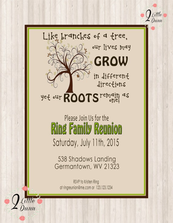 graphic about Free Printable Family Reunion Invitations referred to as Family members Reunion Invite - Swirly Tree - PRINTABLE Electronic