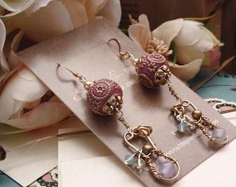 Astrid - Fantasy Viking Pink & Brass Dangle Earrings