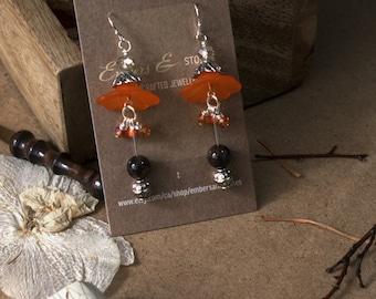 Tangerine Pirouette - Fantasy Elven Medieval Silver Dangle Earrings