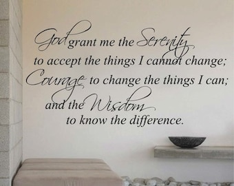 God Grant Me Serenity Wall Quote Home Design Quote Sticker Religious Wall  Quote Living Room Removable