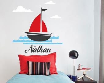 Sailboat Custom Name Wall Decal Ship And Clouds Wallpaper Mural Removable Wall Design Personalized Kids Bedroom Boat Wall Clings, b69