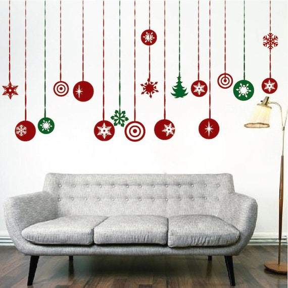 hanging ornament wall decals sticker christmas party | etsy
