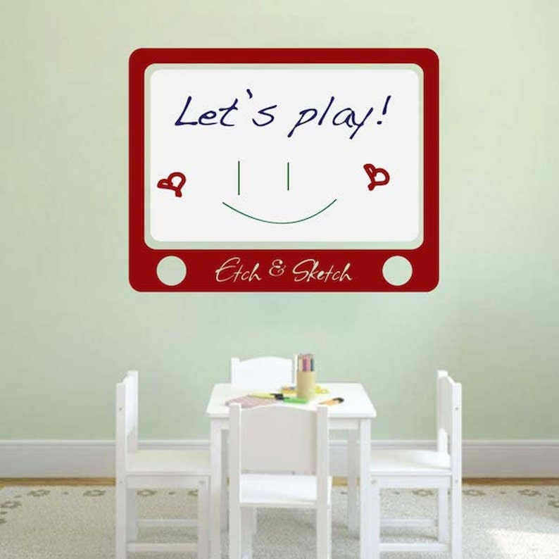 etch and sketch dry erase wall decal dry erase decals   etsy