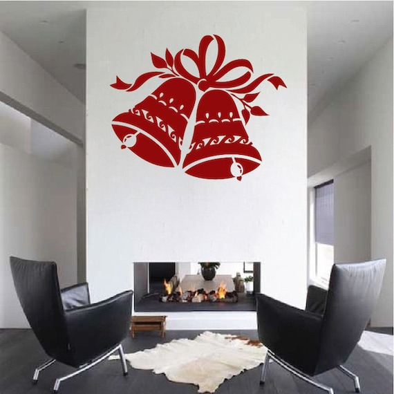 Christmas Wall Decals Removable.Christmas Bells Wall Decals Christmas Wall Design Holiday Wall Art Removable Wall Design Art Removable Christmas Bells Decal H38