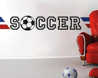 Soccer Vinyl Wall Quote, Sports Wall Decal, Soccer Wall Mural, Soccer Kids Room Decal, Soccer Wall Decor, Soccer Wall Design, Soccer, 20c