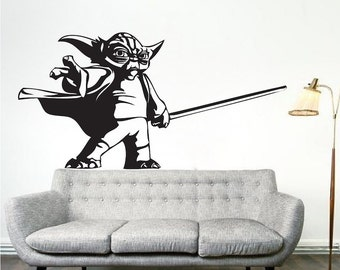 Yoda Wall Decal Sticker, Star Wars Yoda Wall Decal, Star Wars Wall Mural, Yoda Wall Vinyl, Removable Star Wars Wall Vinyl Decal Art, g70